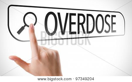 Overdose written in search bar on virtual screen