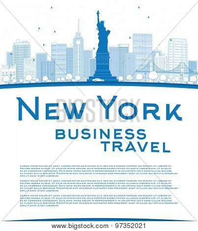 Outline New York city skyline with blue buildings and copy space. Business travel concept. Vector illustration