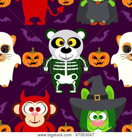 Halloween background  seamless with animal in Halloween costume