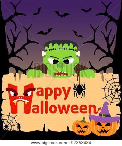 Halloween background with  Frankenstein vector