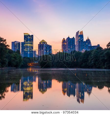 Atlanta  Skyline From Piedmont Park's Lake Meer.