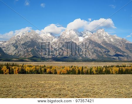 Grand Teton Range view from Jackson hole (USA)