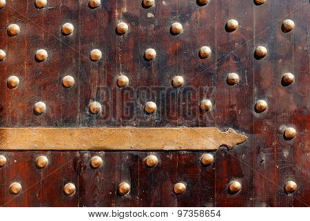 Oldfashioned Wooden Door. Gate Of Fort Qaitbay. Alexandria, Egypt.
