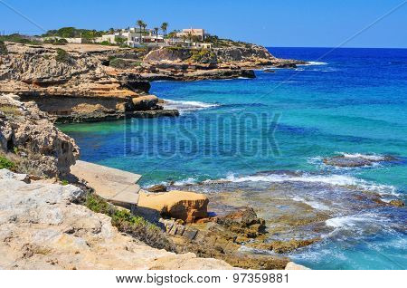 view of the cliffy coast of Sant Josep, in the South-West of Ibiza Island, Spain