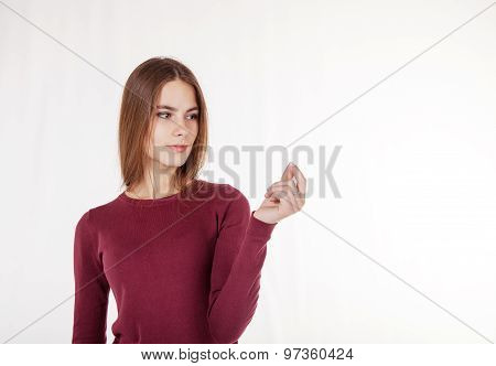 Woman Holds In Her Hand An Imaginary Credit Card