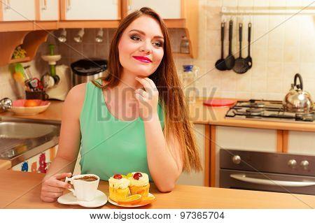 Woman Drinking Coffee And Having Breakfast.