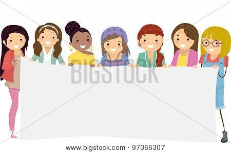 Stickman Girls Teen College Banner