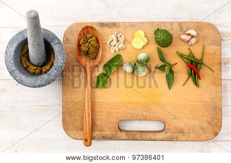 Thai food Cooking ingredients. - Paste of thai popular food. poster