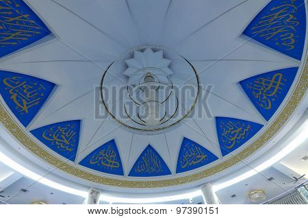 Inside dome of Puncak Alam Mosque at Selangor, Malaysia