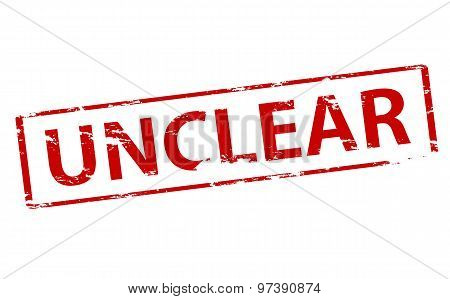 Rubber stamp with word unclear inside vector illustration