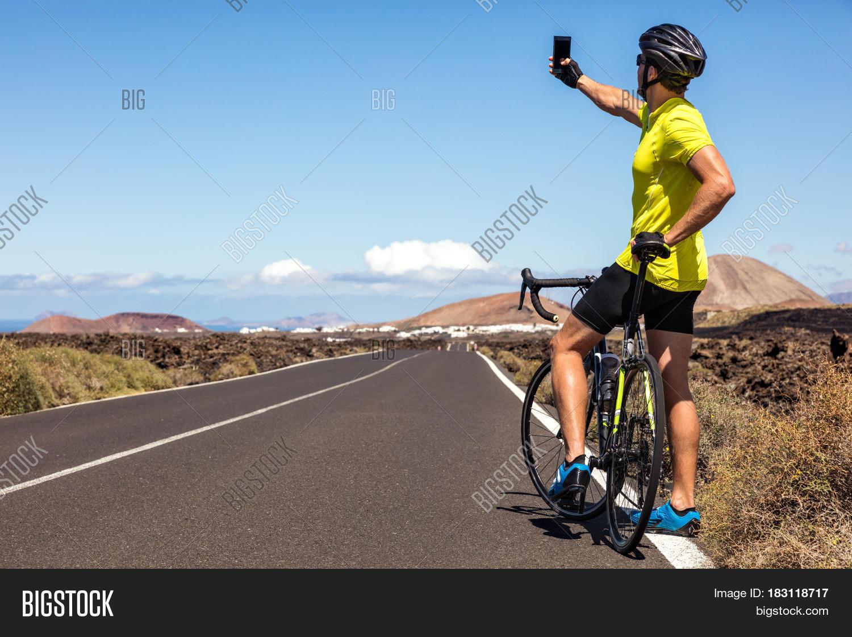 Cyclist Tourist Taking Image & Photo (Free Trial) | Bigstock