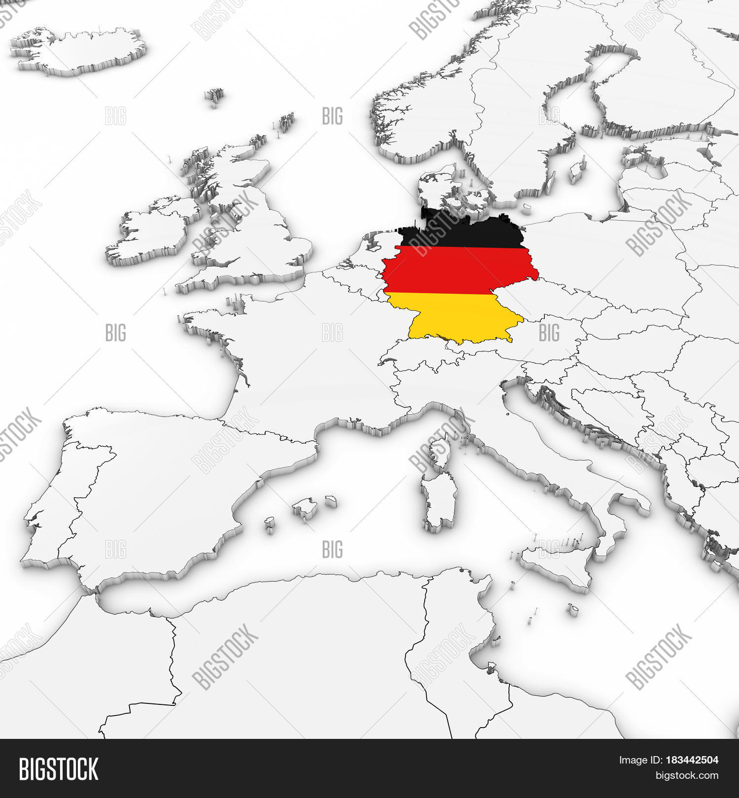 Map Of Germany 3d.3d Map Germany German Image Photo Free Trial Bigstock