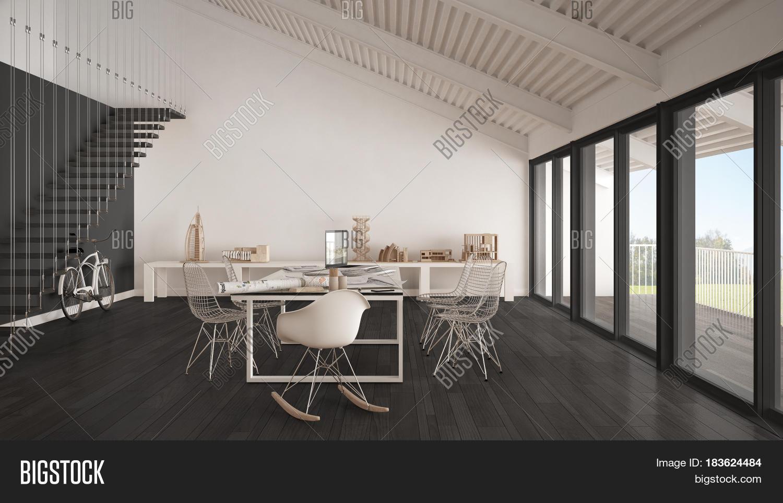 Minimalist White Gray Office Image & Photo | Bigstock