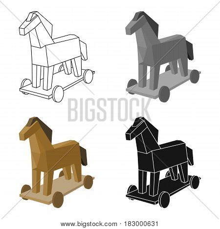 Trojan horse icon in cartoon design isolated on white background. Hackers and hacking symbol stock vector illustration.