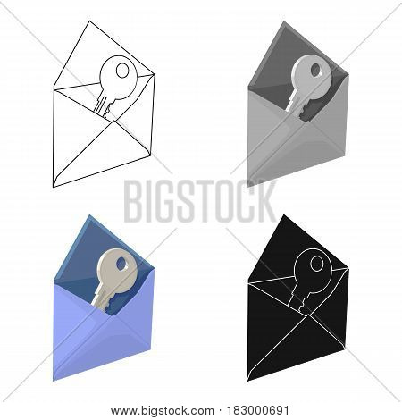 E-mail with virus icon in cartoon design isolated on white background. Hackers and hacking symbol stock vector illustration.