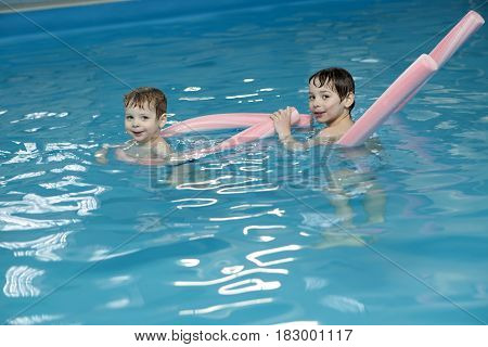 Brothers In Swimming Pool