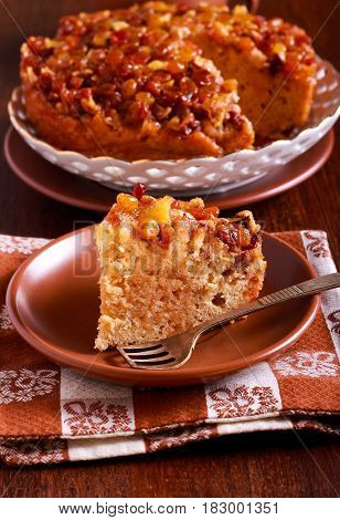 Sticky buckwheat cake with crunchy syrup topping