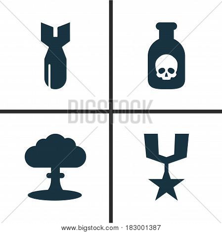 Combat Icons Set. Collection Of Atom, Order, Danger And Other Elements. Also Includes Symbols Such As Dynamite, Order, Danger.