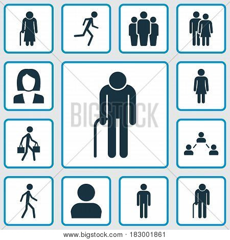 People Icons Set. Collection Of Female, Running, Businesswoman And Other Elements. Also Includes Symbols Such As Running, Walking, Job.
