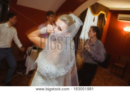 Bride is dancing on the wedding celebration