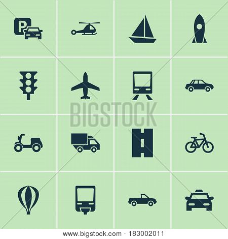 Transport Icons Set. Collection Of Railroad, Cabriolet, Railway And Other Elements. Also Includes Symbols Such As Way, Wagon, Taxi.