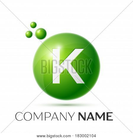 K Letter splash logo. Green dots and circle bubble letter design on grey background. Vector Illustration