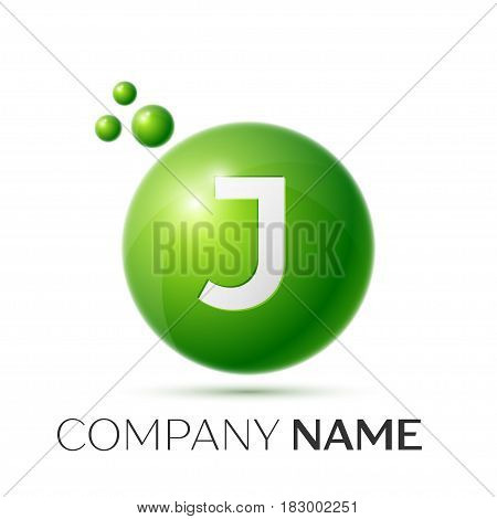 J Letter splash logo. Green dots and circle bubble letter design on grey background. Vector Illustration