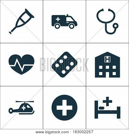 Drug Icons Set. Collection Of Retreat, Spike, Copter And Other Elements. Also Includes Symbols Such As Helicopter, Copter, Pill.