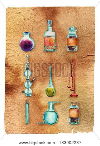 Vintage Science poster, isolated on white. Set of vintage chemistry objects: jars, bottles, containers, apparatuses, painted in watercolour on old paper texture.  poster