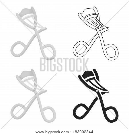 Eyelash curler icon in cartoon style isolated on white background. Hairdressery symbol vector illustration.