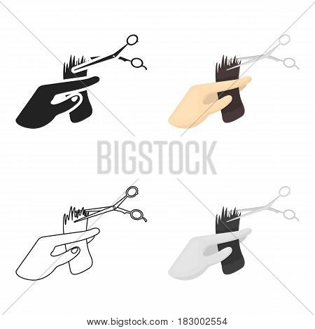 Hair cutting icon in cartoon style isolated on white background. Hairdressery symbol vector illustration.