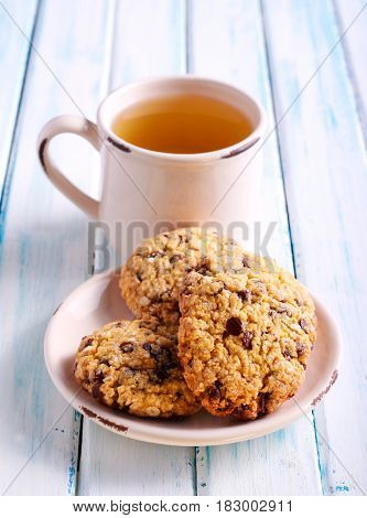 Chocolate chip oat low calorie cookies on plate