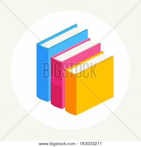 abstract three close books with colorful covers stand in a row.vector illustration of isolated layers on a white background.Academic education symbol learning, reading, school sign.educational concept
