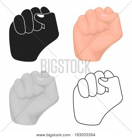 Raised fist icon in cartoon style isolated on white background. Hand gestures symbol vector illustration.