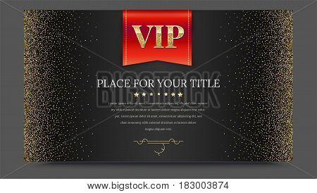 VIP or luxury red flag on black gradient backdrop with golden, shiny, glitter dust. Metallic pattern. Horizontal picture frame. Template for advertisement, VIP or luxury card, selling banner, cover.