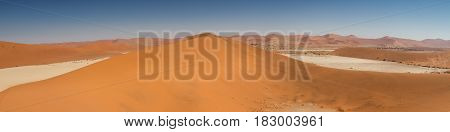Panorama of the Sossusvlei dunes Namibia Africa