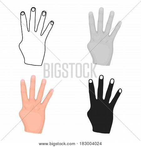 Rabia sign icon in cartoon style isolated on white background. Hand gestures symbol vector illustration.