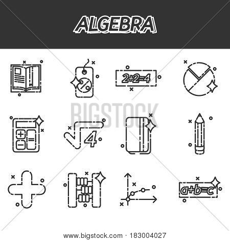 Mathematical science. Algebra. Calculus. Geometry. Exact sciences. Education and scientific icons set. Vector design concept