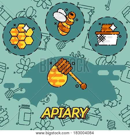 Apiary icons set. Flat illustration of apiary vector icons for web