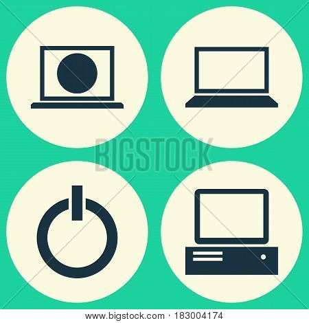 Laptop Icons Set. Collection Of Laptop, Power On, Web And Other Elements. Also Includes Symbols Such As Internet, Notebook, Laptop.
