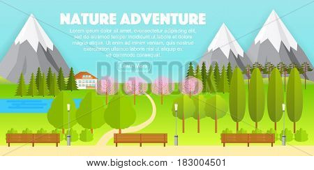 Beautiful flat nature countryside landscape, vector illustration. Forest trees, fir, sakura, mountains, benches and lanterns, cute small house and road. Wide panoramic picture of countryside.