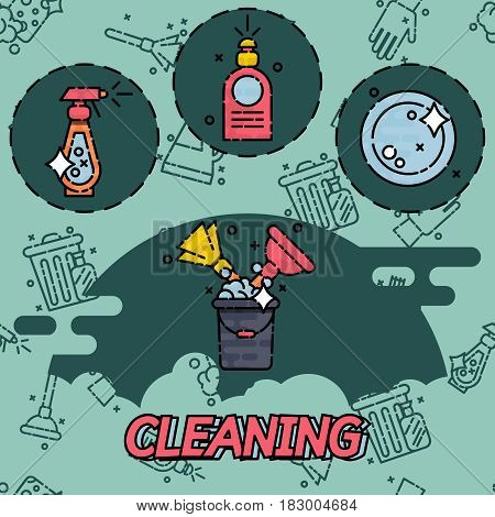 Cleaning flat concept icons. Vector illustration, EPS 10