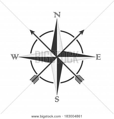 Compass with a wind rose and arrows in the old style. Compass dial design for tattoos and stickers. Vector illustration.
