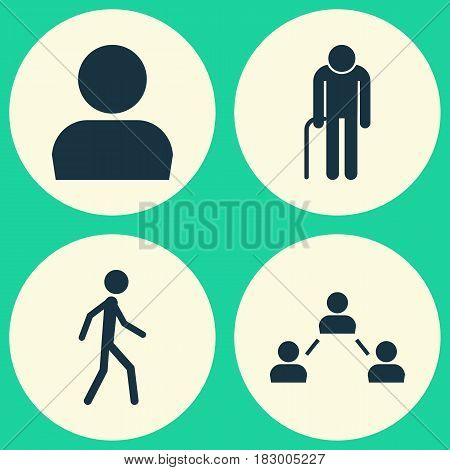 People Icons Set. Collection Of Grandpa, Network, Jogging Elements. Also Includes Symbols Such As Old, Grandpa, Walking.
