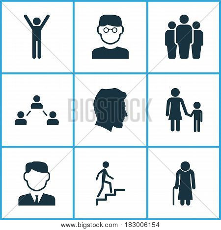 Person Icons Set. Collection Of Ladder, Family, Network And Other Elements. Also Includes Symbols Such As Smart, Gentleman, Ladder.