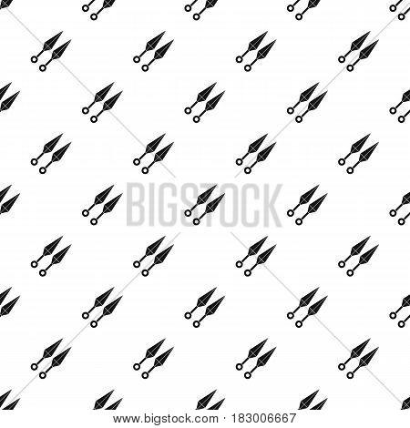 Ninja weapon kunai, throwing knives pattern seamless in simple style vector illustration