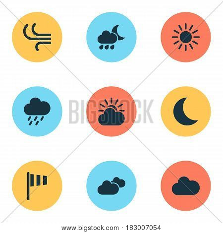 Weather Icons Set. Collection Of Weather, Flag, Nightly And Other Elements. Also Includes Symbols Such As Wind, Hate, Flag.