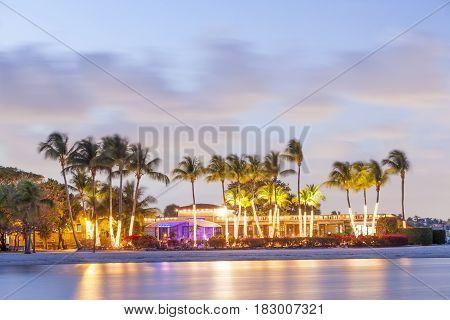 Matheson Hammock Park beach in Coral Gables illuminated at dusk. Miami Florida United States