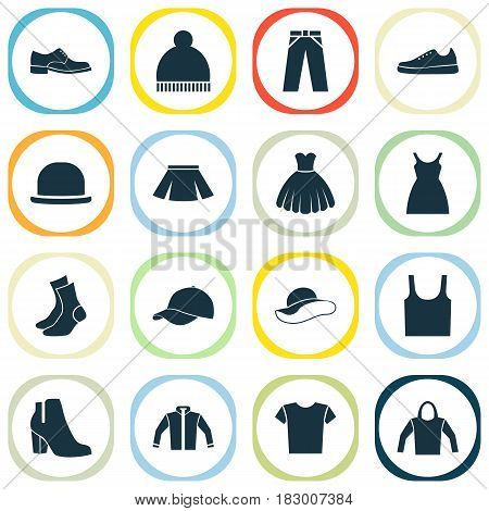 Garment Icons Set. Collection Of Dress, Casual, Sneakers And Other Elements. Also Includes Symbols Such As Shoes, Clothes, Socks.