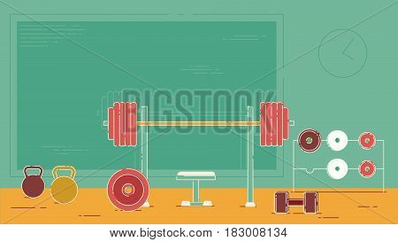 Extensive gym with a bench press bar